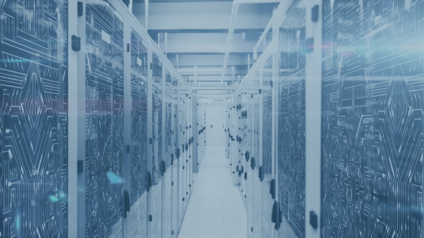 Animation of 5G, data processing and digital information flowing through network of computer servers in a server room with light trails flashing on surface. Global network of internet service provider | Shutterstock HD Video #1049358928