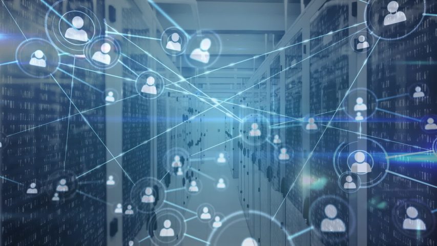 Animation of network of icons and connections, data processing and digital information flowing through network of computer servers in a server room with light trails flashing on surface. Global | Shutterstock HD Video #1049361868