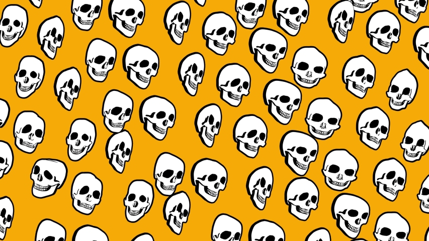 Seamless animation psychedelic skulls printed drawn style cartoon. Hypnotic halloween background with marker stroke effect on an orange backdrop. | Shutterstock HD Video #1049505568