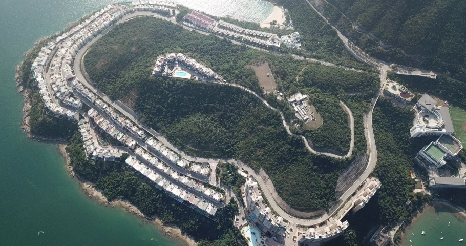 Aerial view of the Redhill Peninsula of Hong Kong | Shutterstock HD Video #1049561068