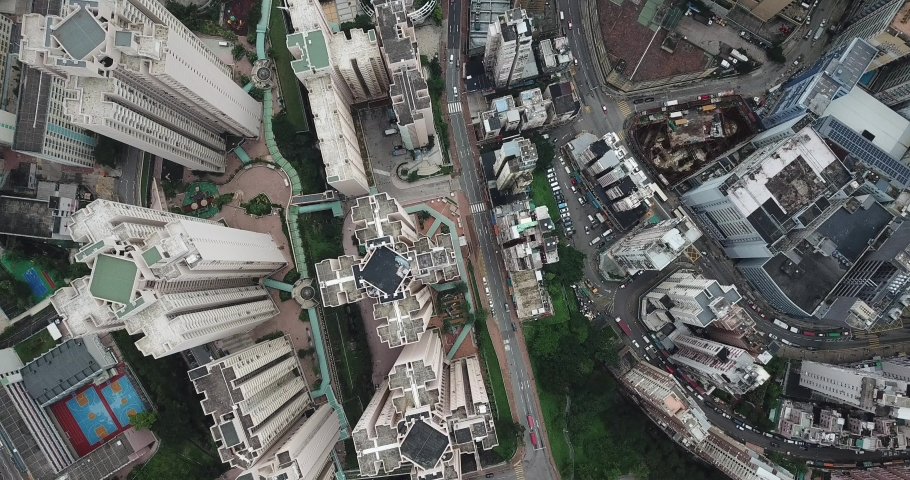 Aerial view in Quarry Bay and Tai Ko, Eastern of Hong Kong Island  | Shutterstock HD Video #1049564428