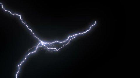 4k Triple Lighting Strike Animation, Blue Color.
