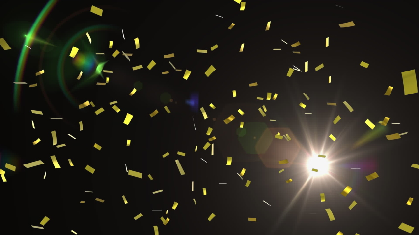 Animation of golden confetti falling with glowing yellow spotlight moving around on black background. Entertainment and celebration concept digitally generated image. | Shutterstock HD Video #1049607328