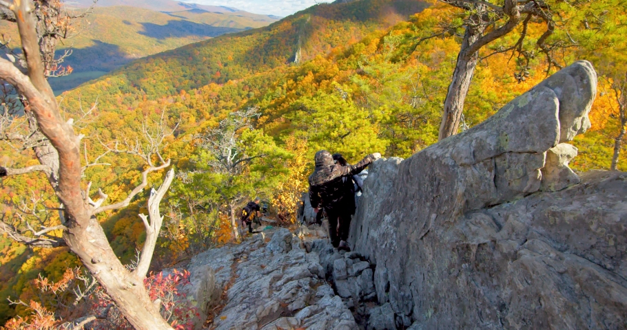 Couple, Hikers, Descending Down Seneca Rocks, West Virginia | Shutterstock HD Video #1049616508