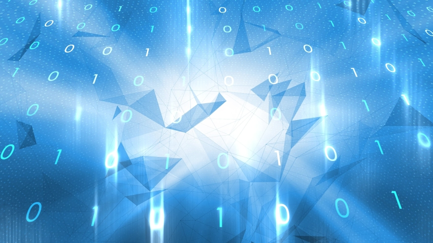 Abstract computer binary numbers with 3d trinagle shapes motion background. | Shutterstock HD Video #1049652568