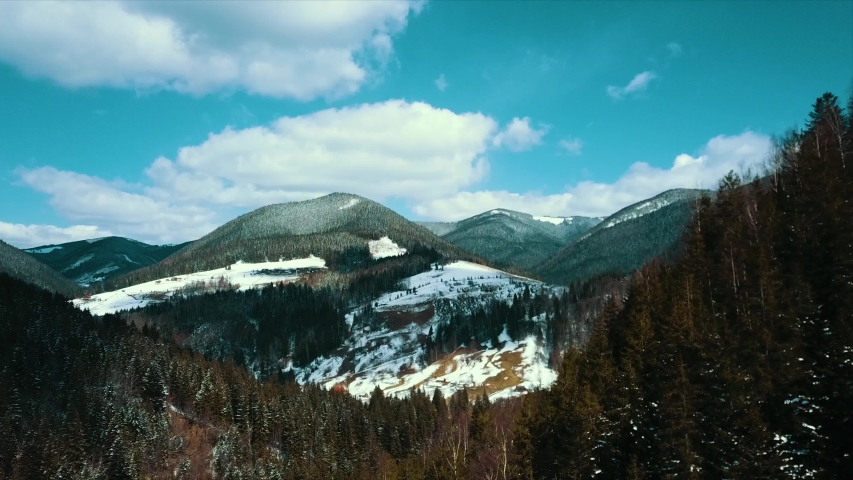 Mountain peak Carpathians aerial video 4K winter snow snowy. | Shutterstock HD Video #1049694928