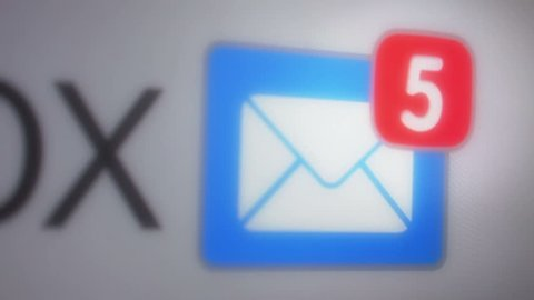 Close up of e-maill inbox with multiple messages appearing in the mailbox