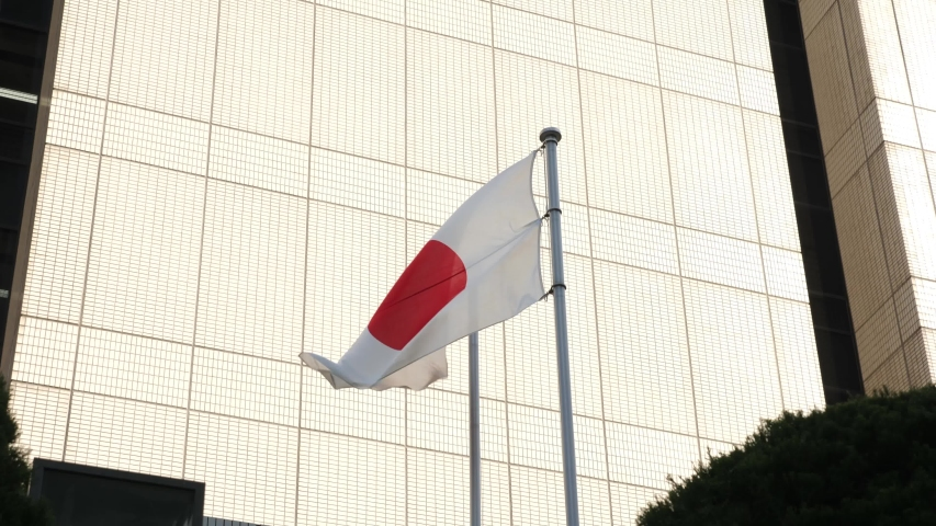 Japan flag blowing in the wind  | Shutterstock HD Video #1049734108