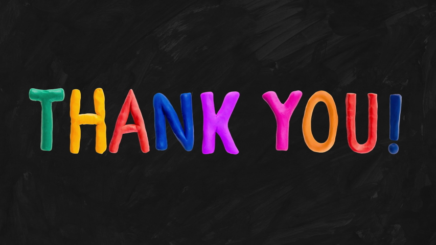 Thank you clay colorful letters animation on blackboard or chalkboard | Shutterstock HD Video #1049821528