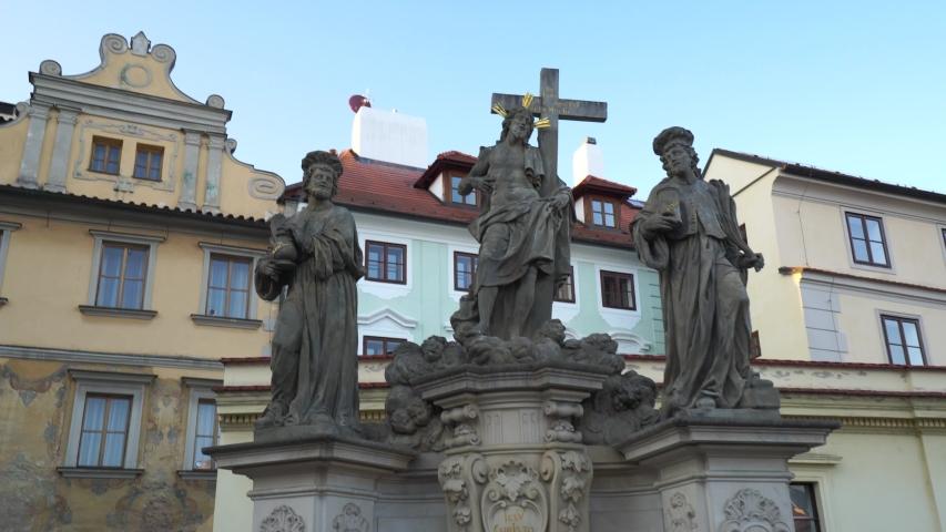 Statues of saint on Charles bridge in Prague. Saint Venceslav (Václav). Czech history and culture. | Shutterstock HD Video #1050036748