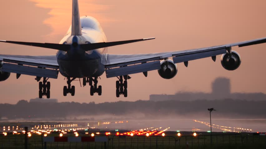 4K Jumbo jet close up in the morning