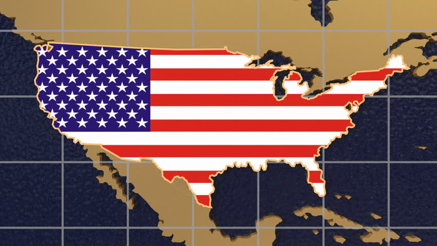 HD digital animation starts with zoom out from USA map textured with flag to folding globe spinning