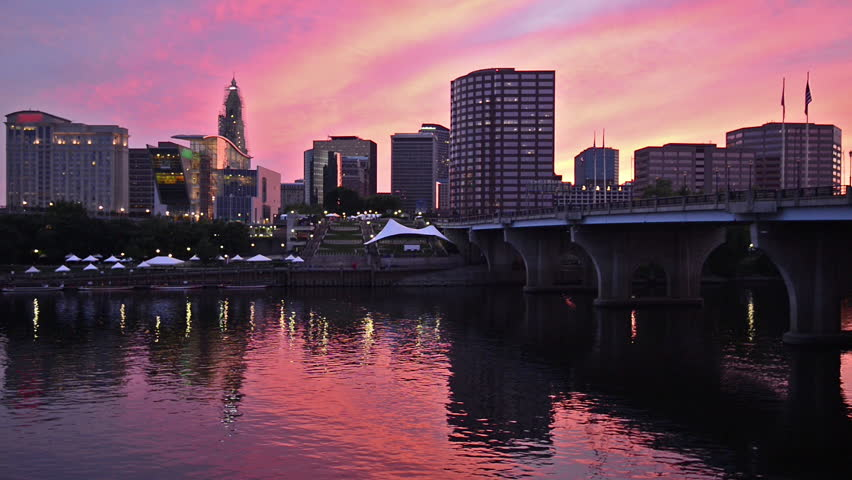 Downtown Hartford, Connecticut skyline from across the Connecticut River.