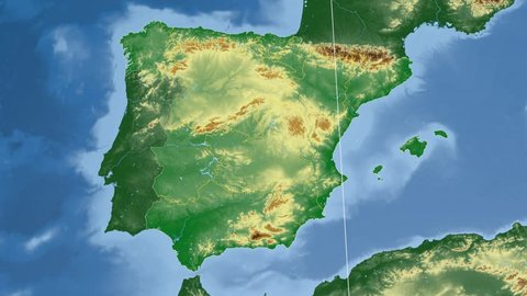 Comunidad Valenciana autonomous community extruded on the physical map of Spain. Rivers and lakes shapes added. Colored elevation data used. Elements of this image furnished by NASA.