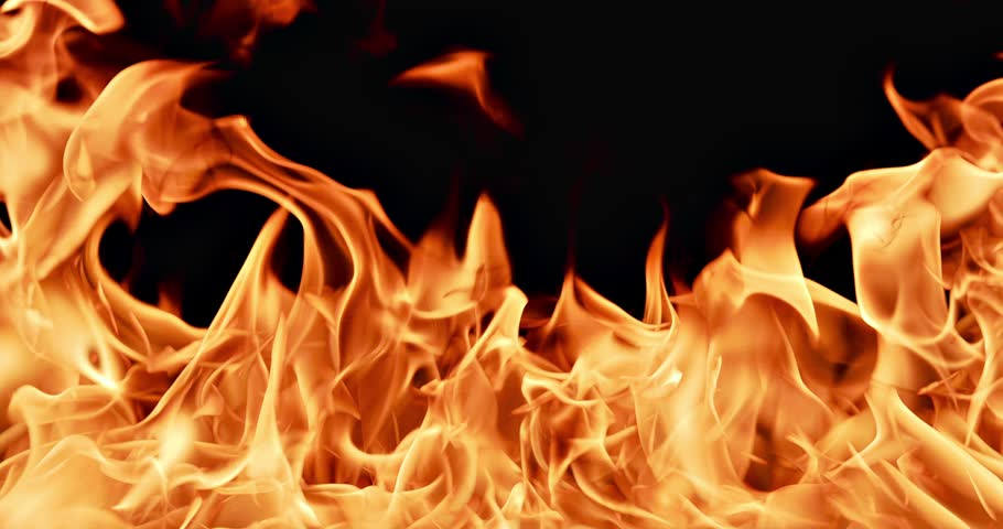 Real Fire Flames Isolated On Black Background Stock