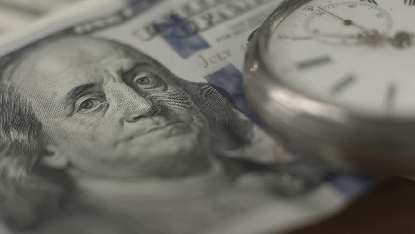 Closeup one hundred dollar bill, Franklin, crisis, money, time   Shutterstock HD Video #10544348