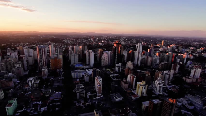 Curitiba, PR -  Brazil -  Aerial view of the city, ecological city. wonderful sunset.