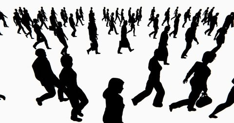 4k Crowd Of People walking,businessman silhouette. cg_02703_4k