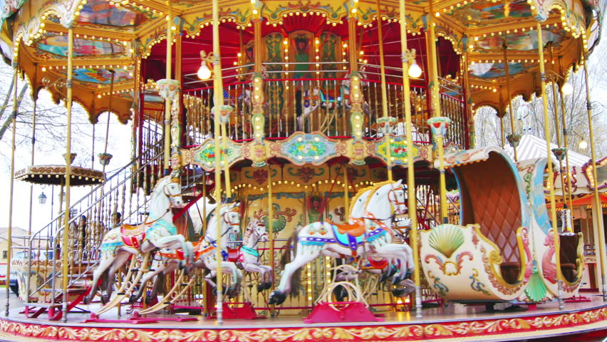merrygoround with horses old french carousel in a