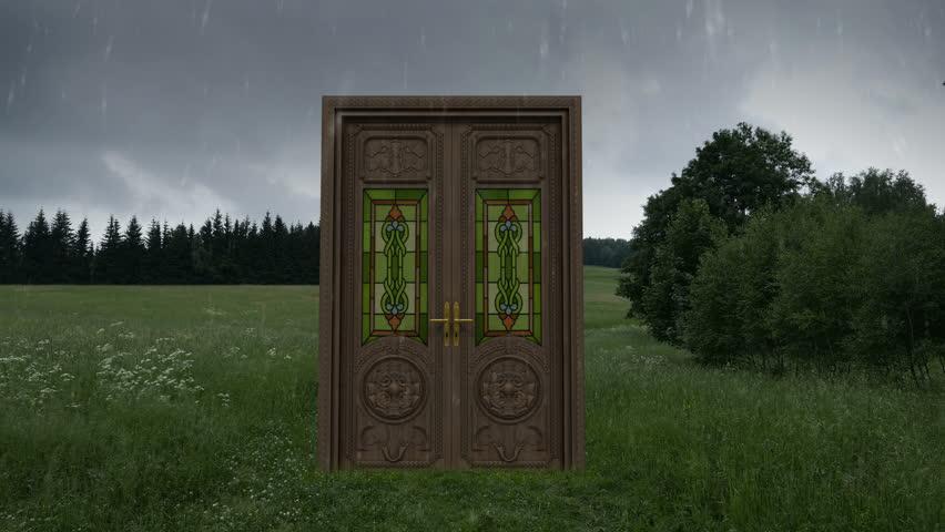 Weather change after walking through Magic Doors. 4k