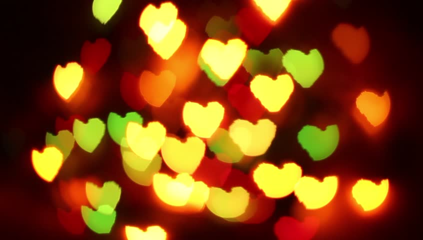 Bokeh Heart Shape Of Light Background Stock Footage Video: Festive Lighting Heartiest Glow In Background, Bokeh
