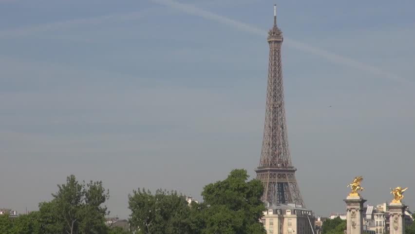 Paris Pont Alexander III over Seine river background Eiffel tower, golden statue | Shutterstock HD Video #10653188