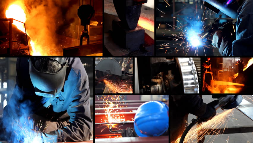 Metal industry multiscreen, welder, steel mill, grinding, lathe
