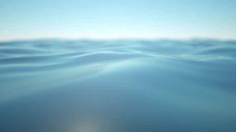 Gentle blue waves of the sea or lake moving in a calm and soothing way. A 3D rendered animation of a closeup of the sea with a blurred horizon.