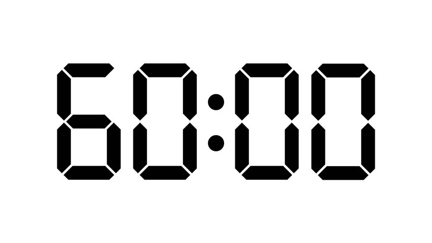 digital timer of 60 seconds  complete sixtieths  slow down