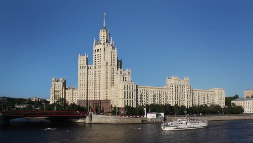 High-rise building from Stalin time on Kotelnicheskaya quay, Moscow river front view
