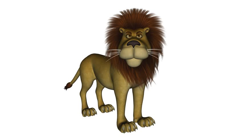 5 Seconds Long Clip Of A Cartoon Lion That Is Roaring While Standing Up Isolated On White Stock Footage Video 1070968