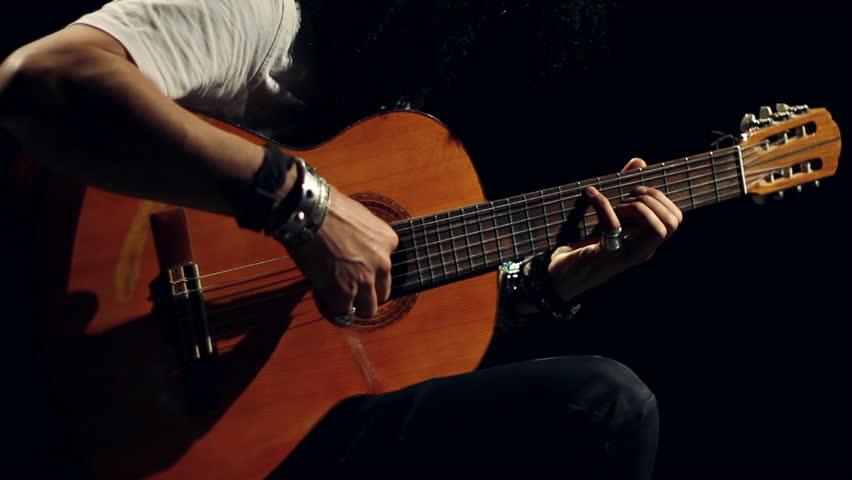 jazz guitarist filmed in studio stock footage video 3497990 shutterstock. Black Bedroom Furniture Sets. Home Design Ideas