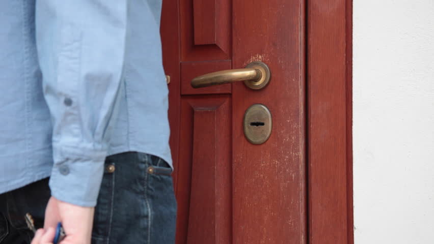 Stock Video Clip Of Man Coming Home Unlock The Front Door