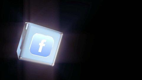 Editorial Animation: 3D Rotating Facebook logo cube