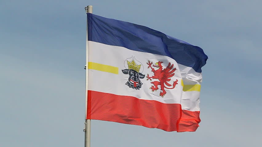 flag of german federal state mecklenburg vorpommern in the wind