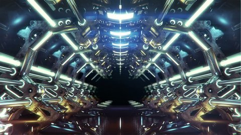 walking inside of futuristic metallic corridor with forking electric lightning passing the camera from behind. seamless loop, HD