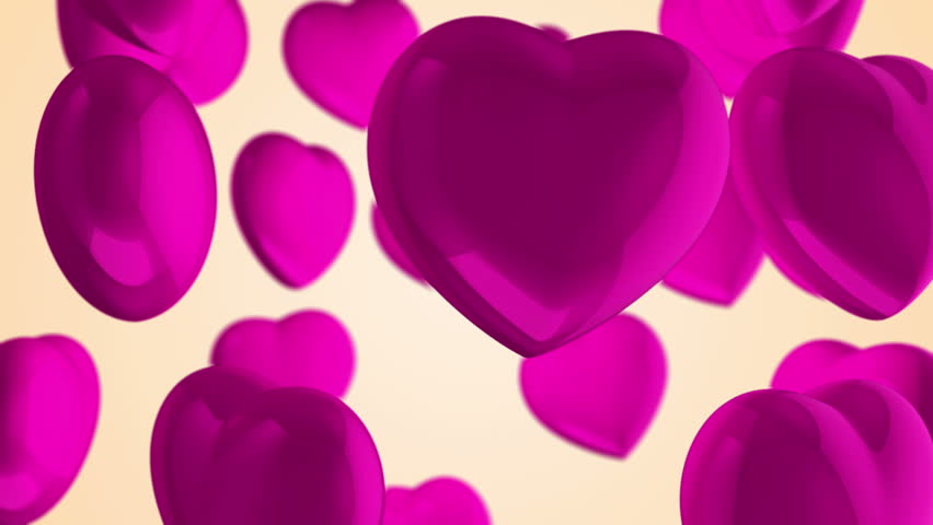 Animation flying of red glossy hearts. Abstract lovely background for Valentine's Day or movie about love and married. Animation of seamless loop. | Shutterstock HD Video #10865408