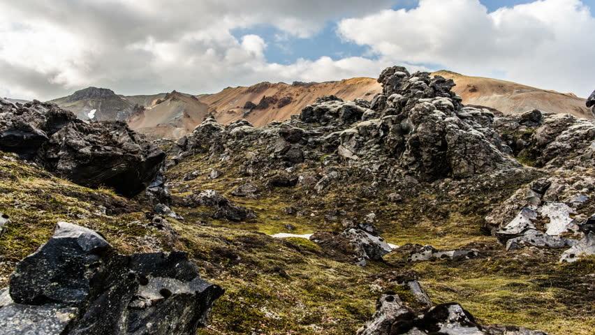 Landmannalaugar  Iceland, rugged volcanic rocky creepy lava field landscape, dolly slider 4k