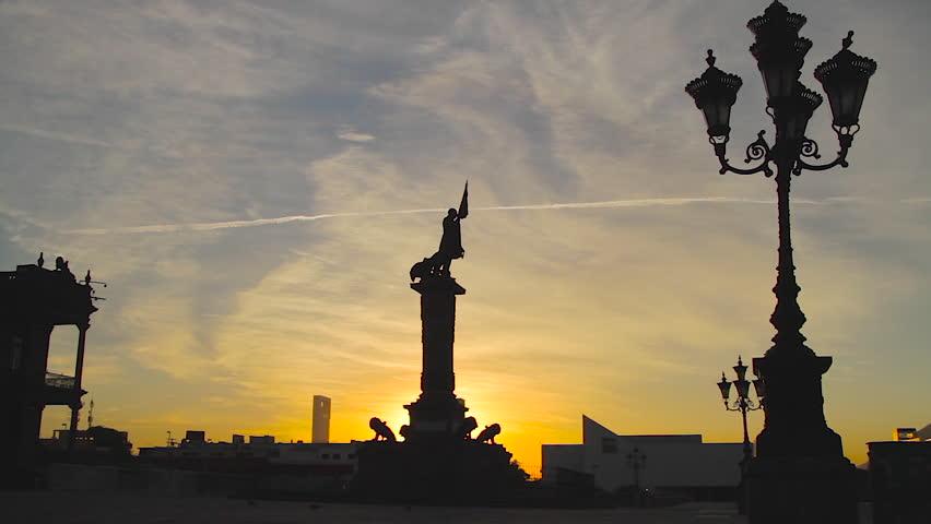 Monterrey, Nuevo Leon. Mexico - CIRCA 2015: MacroPlaza Timelapse