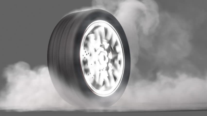 extreme tire Burnout on asphalt, lots of smoke & heat :) seamless loop, + alpha channel rendered with extreme level of details for fullHD