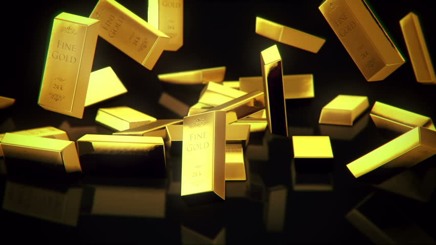 shiny gold bars falling in slow-motion rendered with high resolution in Full HD
