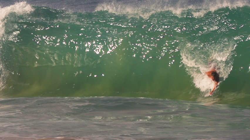 Body Surfer Catches Big Shorebreak Barreling Wave at Makena Beach in Hawaii. 240 FPS