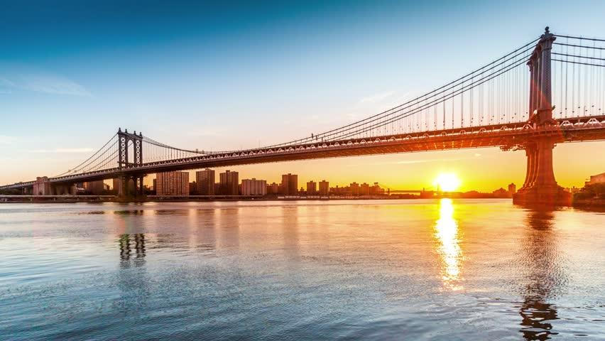 Manhattan Bridge sunrise timelapse made from Brooklyn Bridge Park in New York City (4k)