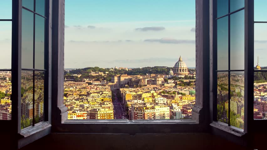 Rome cityscape as seen from behind a window day to night timelapse at the sunset to night city lighting up panorama traffic rushing 4k