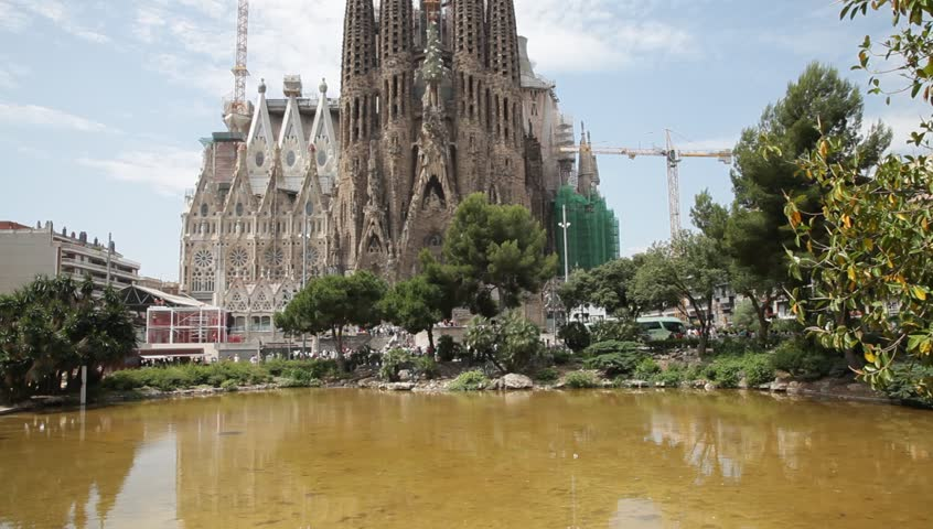 Barcelona-Spain- Circa September 2013. Facade view of Birth at Sagrada Familia Temple (Sacred Family) from Gaudi Square in Barcelona city.