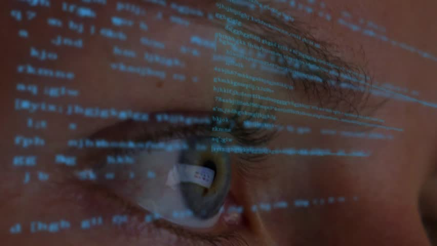 Digital Animation of Eyes Looking at Futuristic Holographic Interface