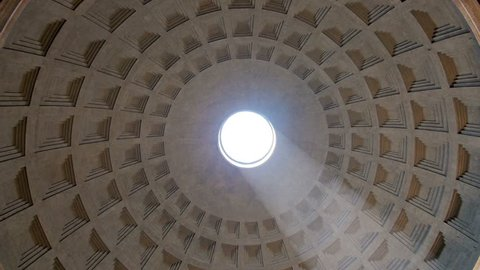 Rome,italy,06/08/2015:View of pantheon ceiling spinning sun rays coming through the hole