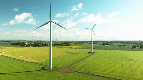 Epic Aerial shot of wind wheel