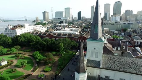 CIRCA NEW ORLEANS, LOUISIANA JULY 2015: Aerial view circling the St. Louis Cathedral in New Orleans French Quarter