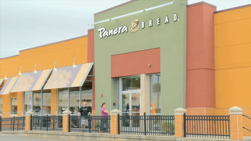 WARWICK, RI - AUG 3, 2015: Panera Bread restaurant open for business on August 3, 2015. Panera Bread is a franchise chain of bakery cafe fast casual restaurants in the United States and Canada.